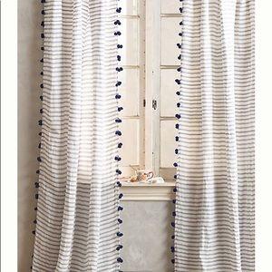 Anthropologie Pom Tassel Curtain Stripe